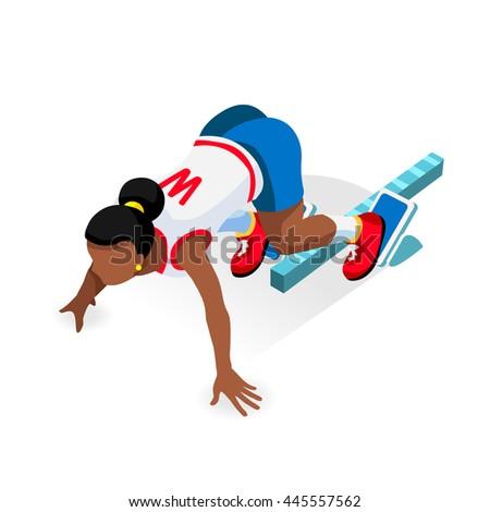 Sprinter Runner Athlete at Starting Line Athletics Race Start 2016 Summer Games Icon Set.3D Flat Isometric Sport of Athletics Runner Athlete at Starting Blocks.Olympics Sport Infographic Image - stock photo