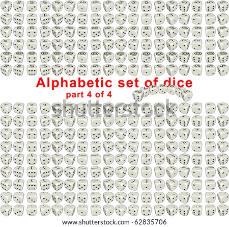 Sprites set Alphabetic Dice it's full set consist from letters, digits and signs on a top side of the dice. Dices are rotated on 360deg with step of 20deg. Each sprite have size 256x256 pixels. - stock photo