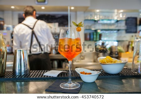 Spritz famous italian drink on counter bar