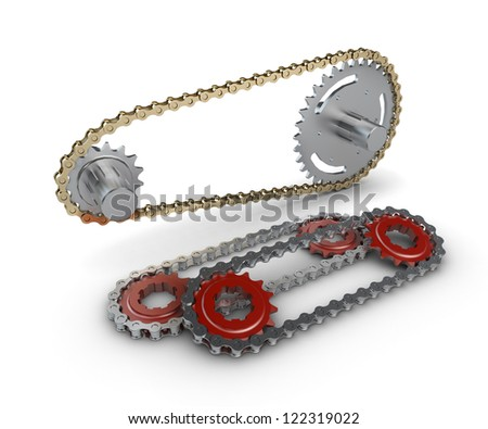 Sprocket with metal link chain