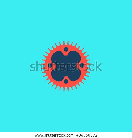 Sprockets Flat icon on color background. Simple colorful pictogram - stock photo