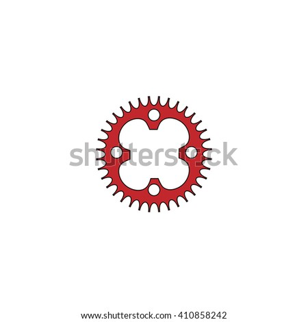 Sprockets Simple red icon on white background. Flat pictogram - stock photo