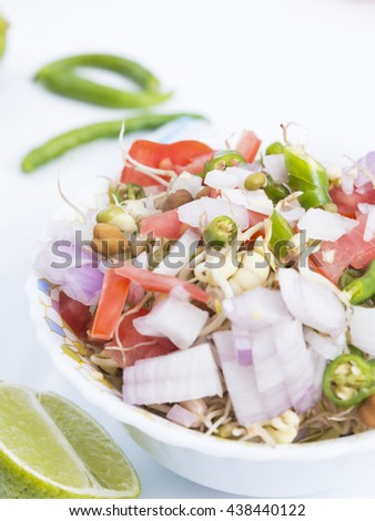 Sprouts mix - Indian traditional home made sprouts masala mix - White background