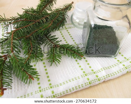 Spruce needles bath salt - stock photo