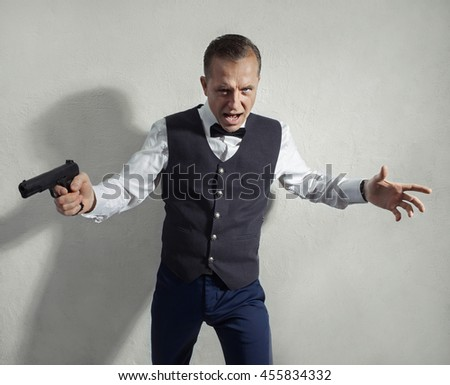 Spy agent with a gun in his hand