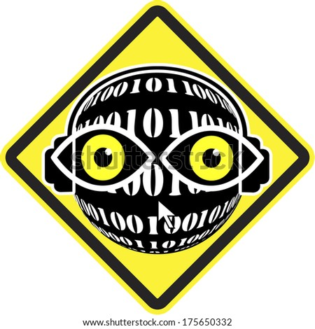 Spy ahead, Big brother is watching you! Privacy at stake through surveillance - stock photo