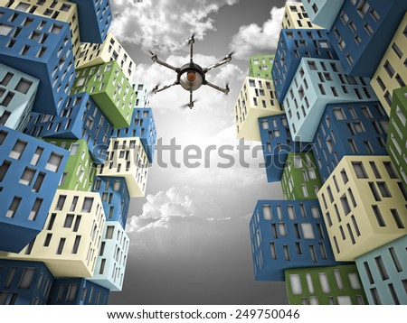 spy drone and abstract 3d town - stock photo