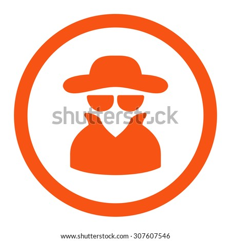 Spy glyph icon. This rounded flat symbol is drawn with orange color on a white background. - stock photo