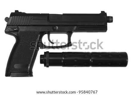 spy handgun with silencer on white background