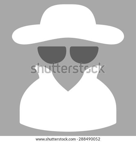 Spy icon from Business Bicolor Set. Glyph style: bicolor flat symbol, dark gray and white colors, rounded angles, gray background. - stock photo