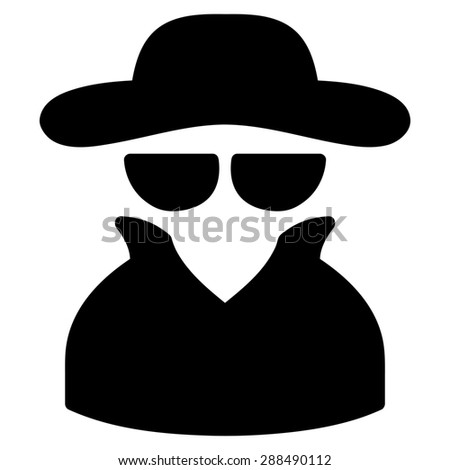 Spy icon from Business Bicolor Set. Glyph style: flat symbol, black color, rounded angles, white background. - stock photo