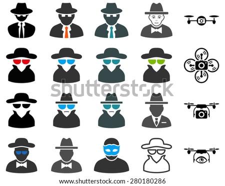 Spy icon set. Symbols on a white background. - stock photo