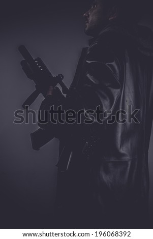 spy, portrait of murderer with gun