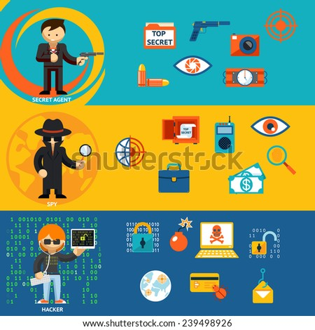 Spy, secret agent and cyber hacker with characteristic objects and their accessories - stock photo