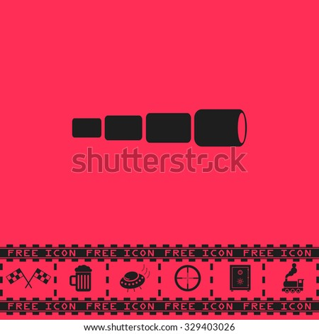 Spyglass. Black flat illustration pictogram and bonus icon - Racing flag, Beer mug, Ufo fly, Sniper sight, Safe, Train on pink background - stock photo