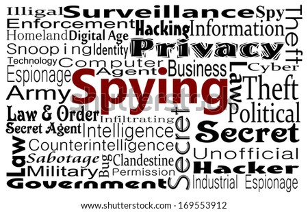 Spying, contemporary issue word cloud - stock photo