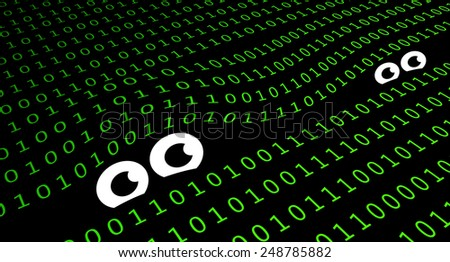Spyware in data base, eye's are watching computer code - stock photo