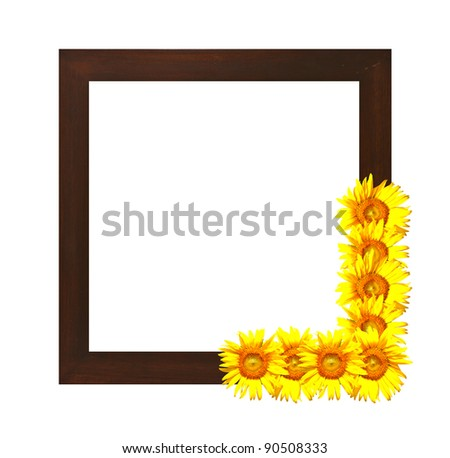 sqaure wooden photo frame decorated with sunflowers - stock photo