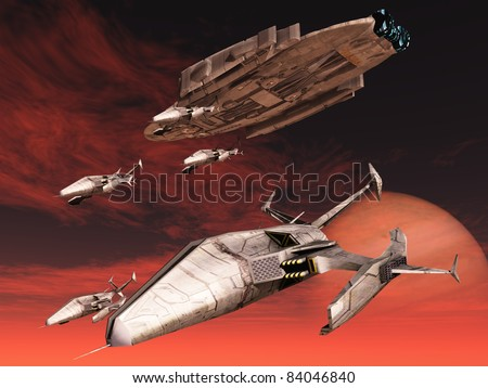 Squadron of fighters descend from space cruiser - stock photo