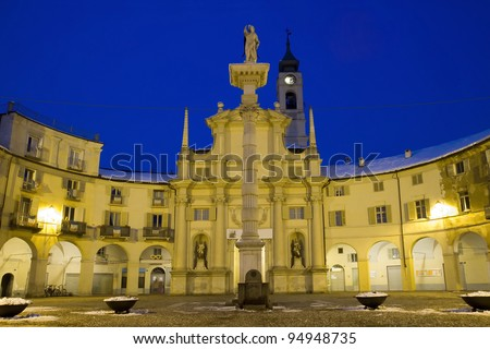 Square announced a historic square in the city of venaria real province of turin italy - stock photo
