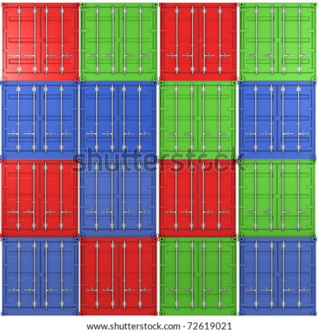 Square background made of multiple color freight containers - stock photo
