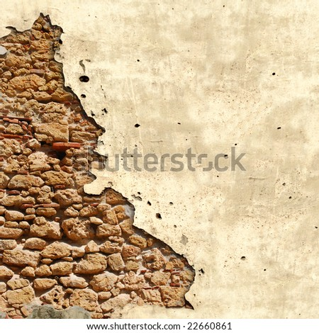 Square background with damaged vintage grunge wall in Cuba - stock photo