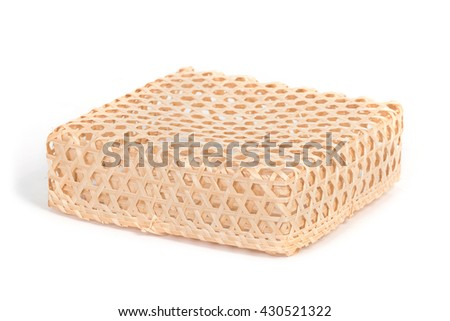 square bamboo wicker basket, isolated on white background