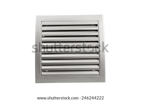 Square bathroom exhaust ventilation fan on white background, isolated with clipping path. Plastic with shine, silver like finishing. - stock photo