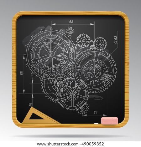 Square blackboard with chalk drawing of gear wheels. Design and engineering concept  illustration.