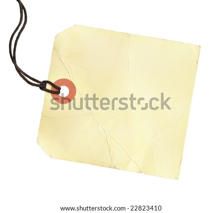 Square blank tag with a black cord. - stock photo