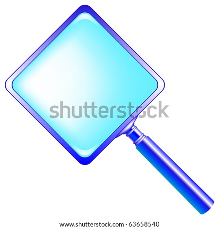 square blue magnifying glass against white background, abstract art illustration; for vector format please visit my gallery - stock photo