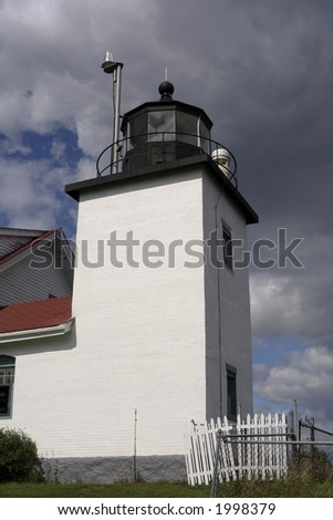 Square brick lighthouse in Maine