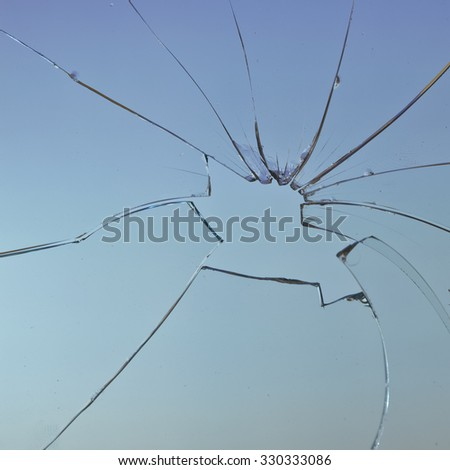 square broken glass blue background