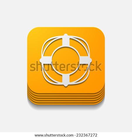 square button: lifebuoy - stock photo