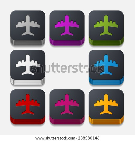 square button: plane - stock photo