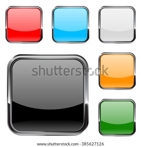 Square  buttons with metal chrome frame.   illustration isolated on white background. Raster version.