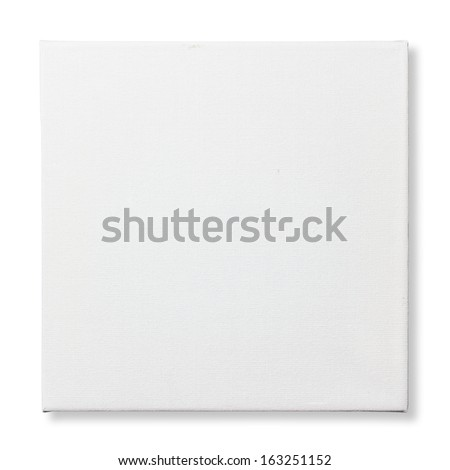 Square canvas frame isolated on white background (with clipping path) - stock photo