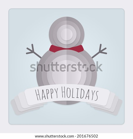 Square Christmas card with a 3d layered folded paper Snowman design and banner with a Happy Holidays Message. - stock photo