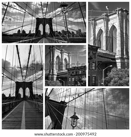 Square collage of the Brooklyn bridge in black and white, New York USA - stock photo
