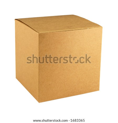 square corrugated brown cardboard gift box with lid closed - stock photo