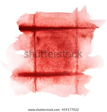 Square dark red watercolor frame - abstract  background