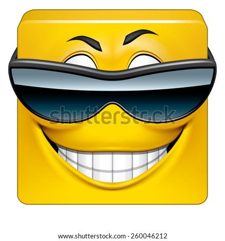 Square emoticon cool - stock photo