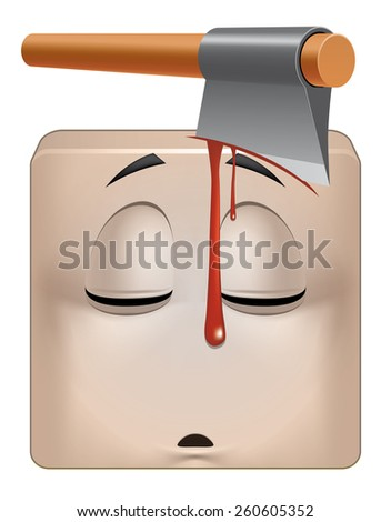 Square emoticon dead - stock photo