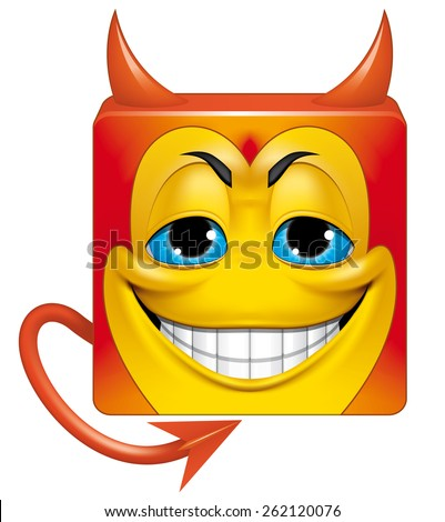 Square emoticon devil - stock photo
