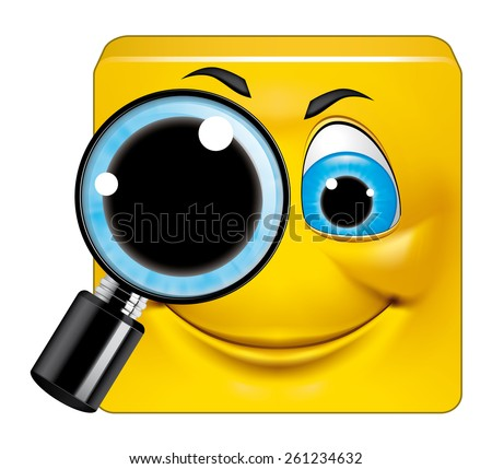 Square emoticon  searching - stock photo