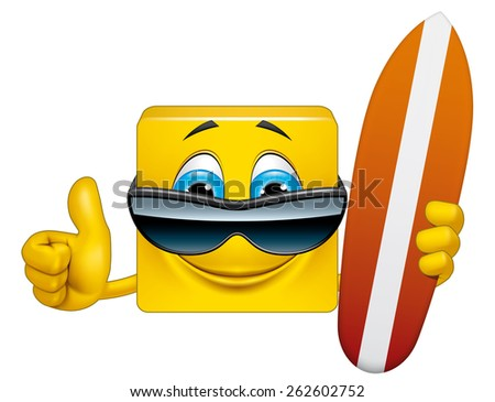 Square emoticon surfer - stock photo