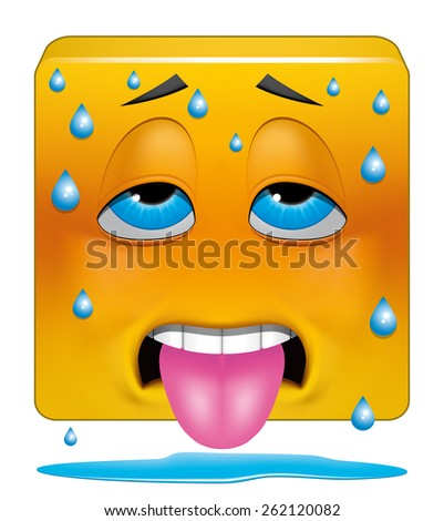 Square emoticon sweating heat - stock photo