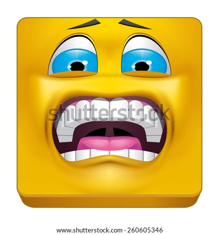 Square emoticon terrified - stock photo