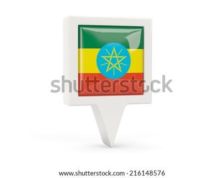 Square flag icon of ethiopia isolated on white - stock photo