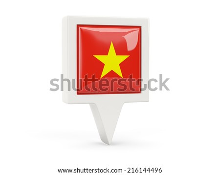 Square flag icon of vietnam isolated on white - stock photo